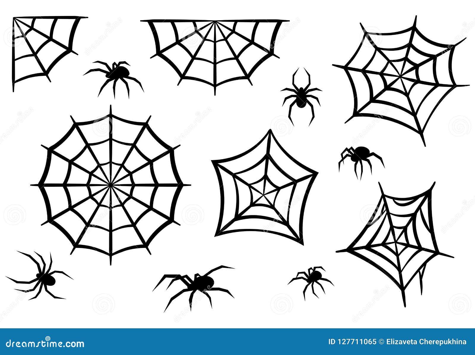 Silhuetas pretas das aranhas e das Web de aranha Elementos de Dia das Bruxas isolados no fundo branco Ilustração do vetor