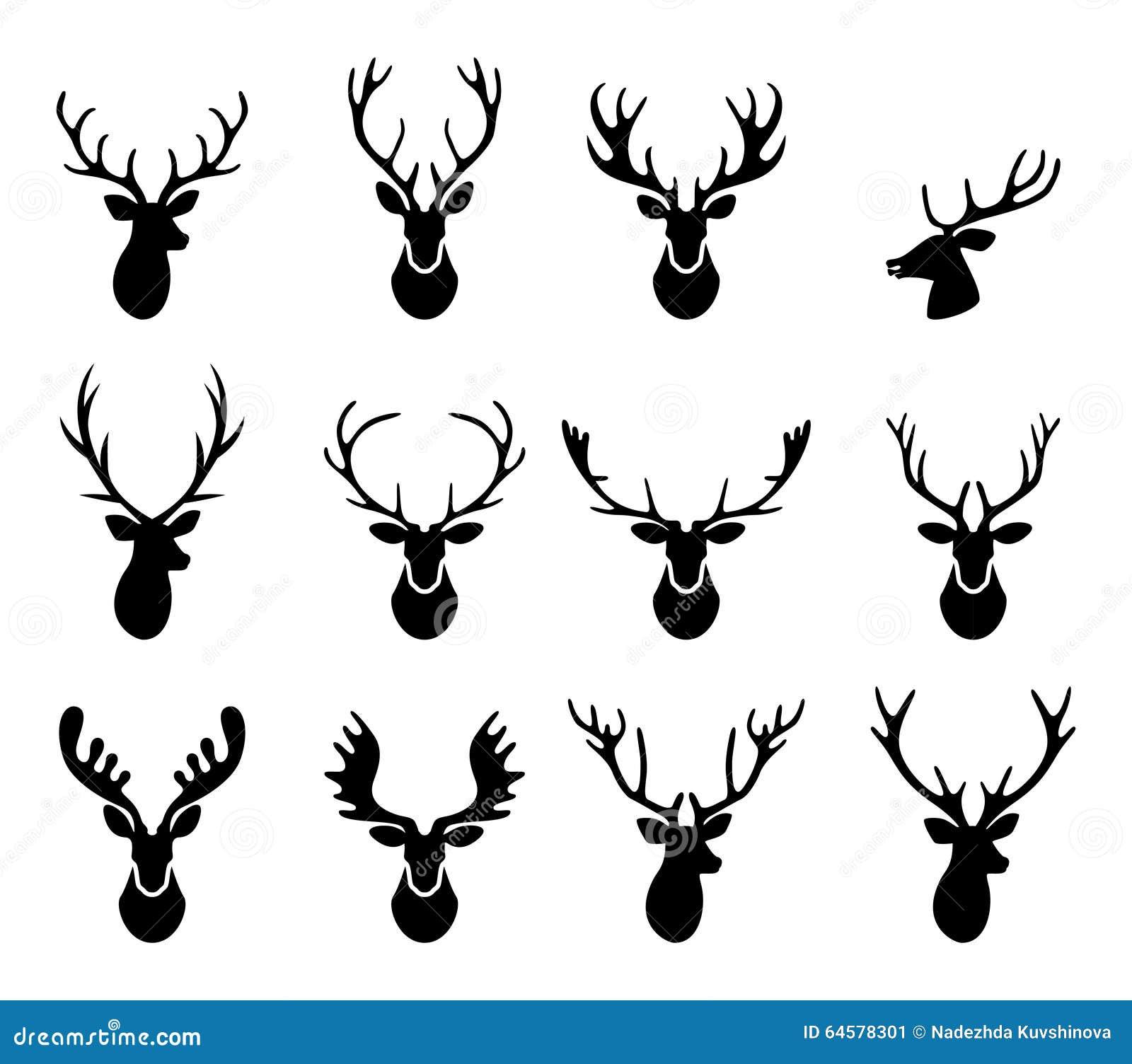 silhuetas pretas de chifres diferentes dos cervos vetor