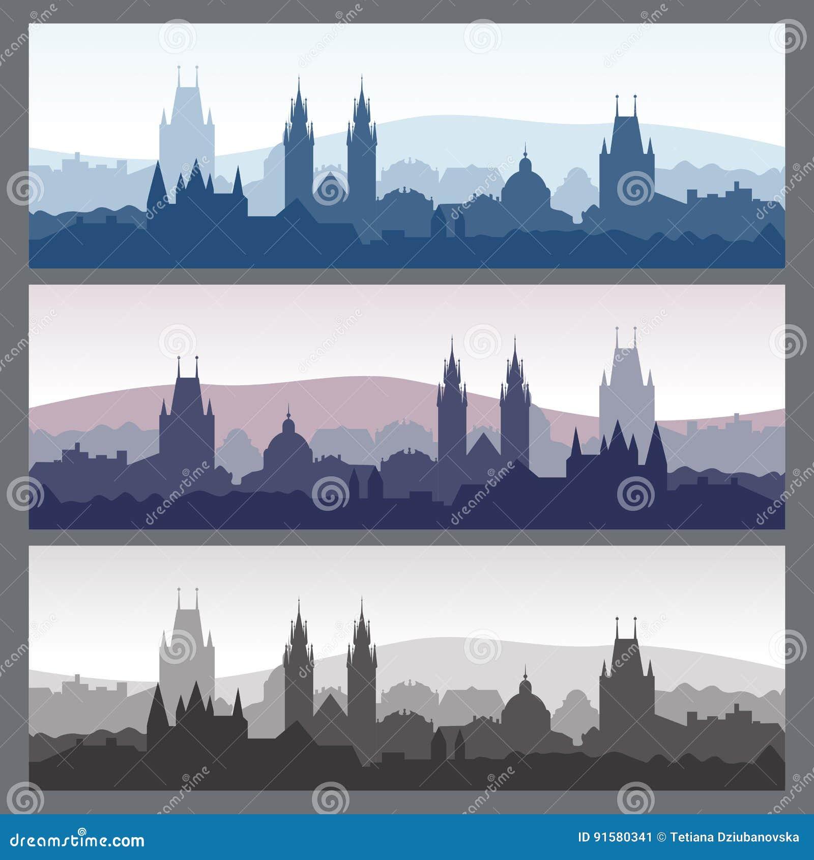 Silhuetas velhas da cidade ajustadas Skylines sem emenda da cidade em cores diferentes