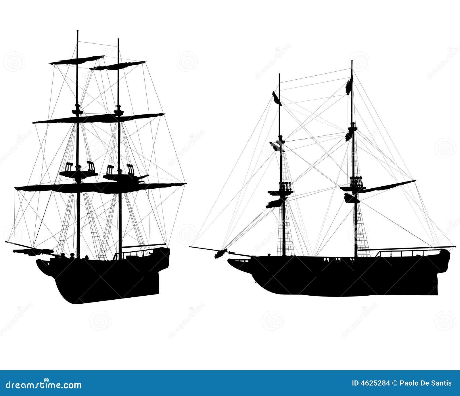Silhuetas velhas dos navios