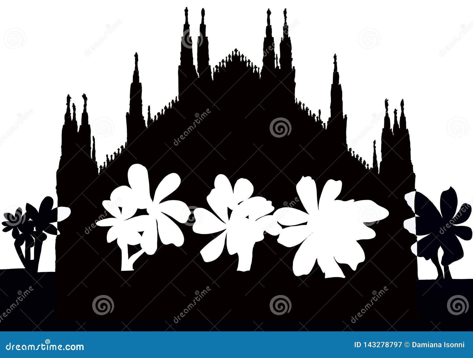 Silhuette de cathédrale gothique de Milan avec la croix