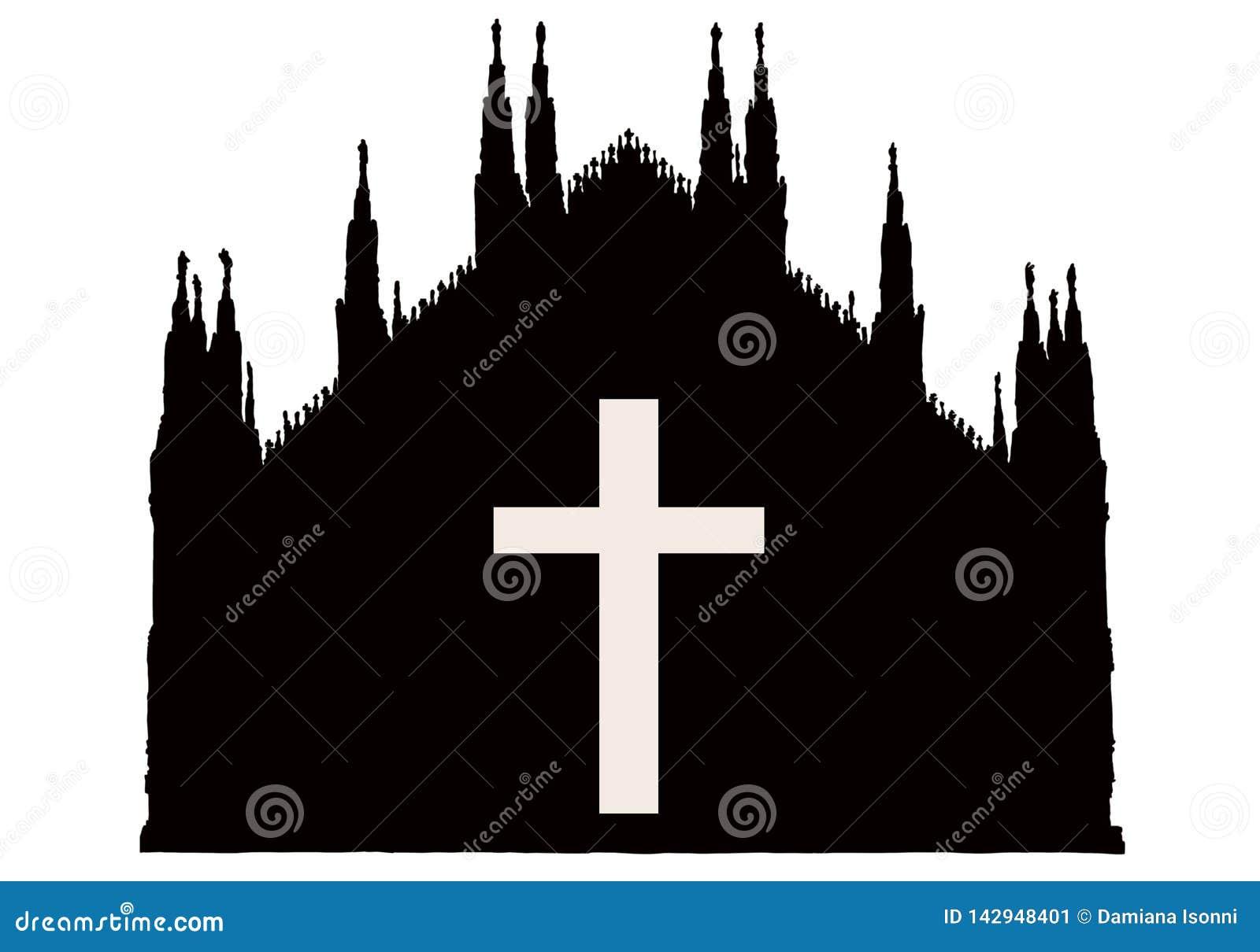 Silhuette de cath?drale gothique de Milan avec la croix