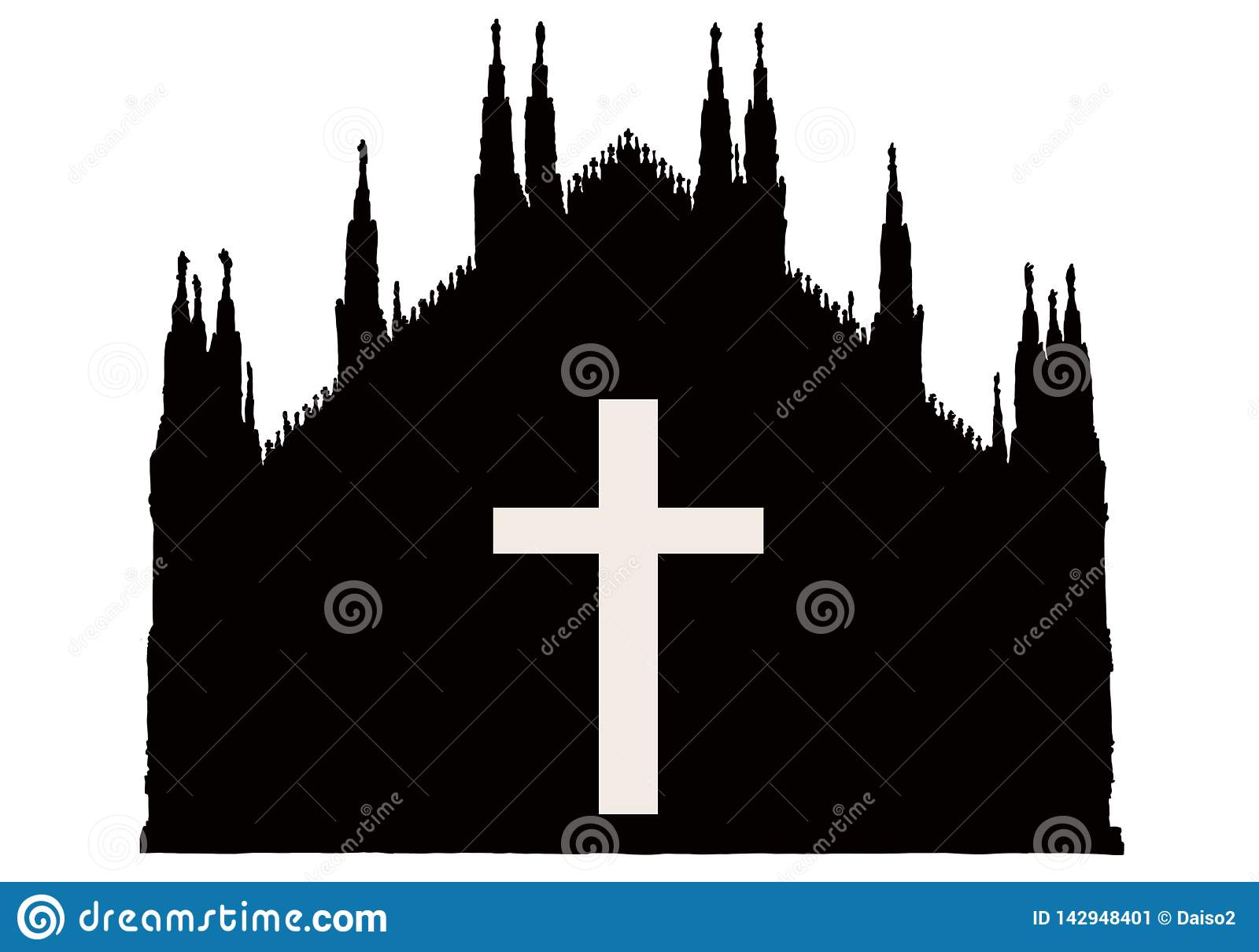 Silhuette gothic Mediola?ska katedra z krzy?em