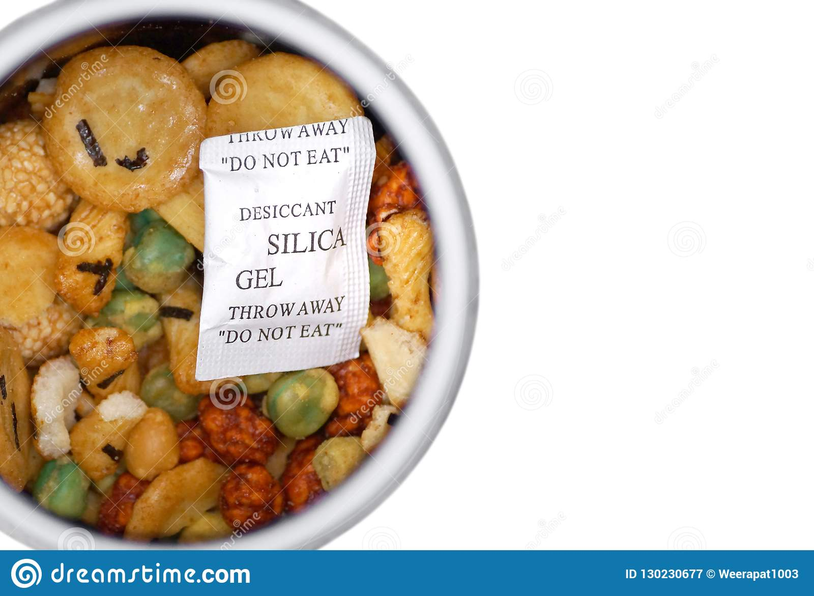 A silica gel pack stock image  Image of clear, granular