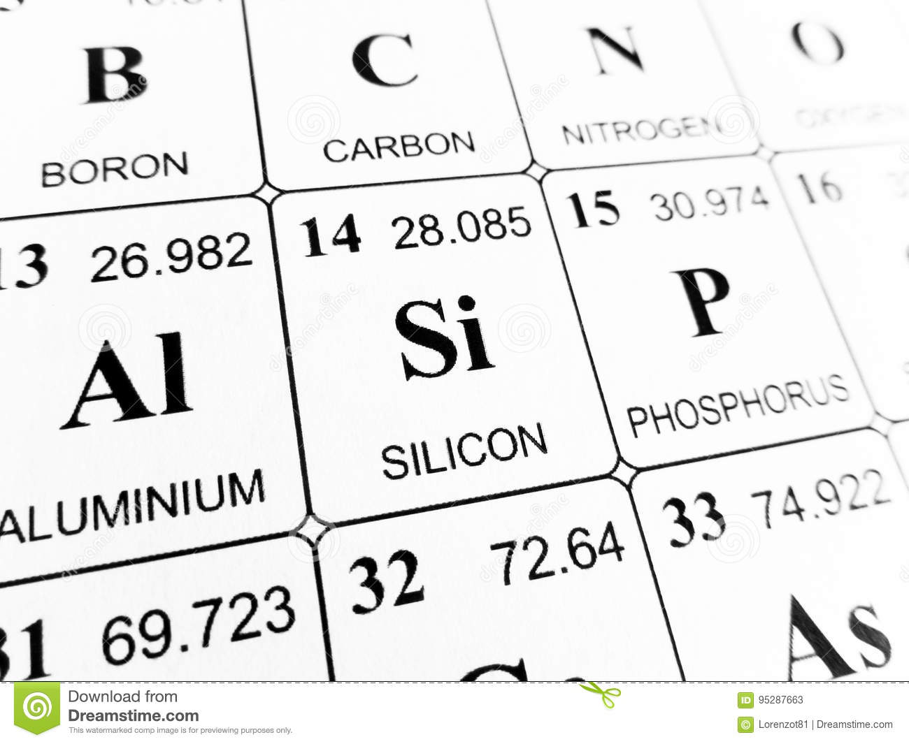 silicon on the periodic table of the elements stock photo si on the periodic table - Periodic Table Abbreviation Lead