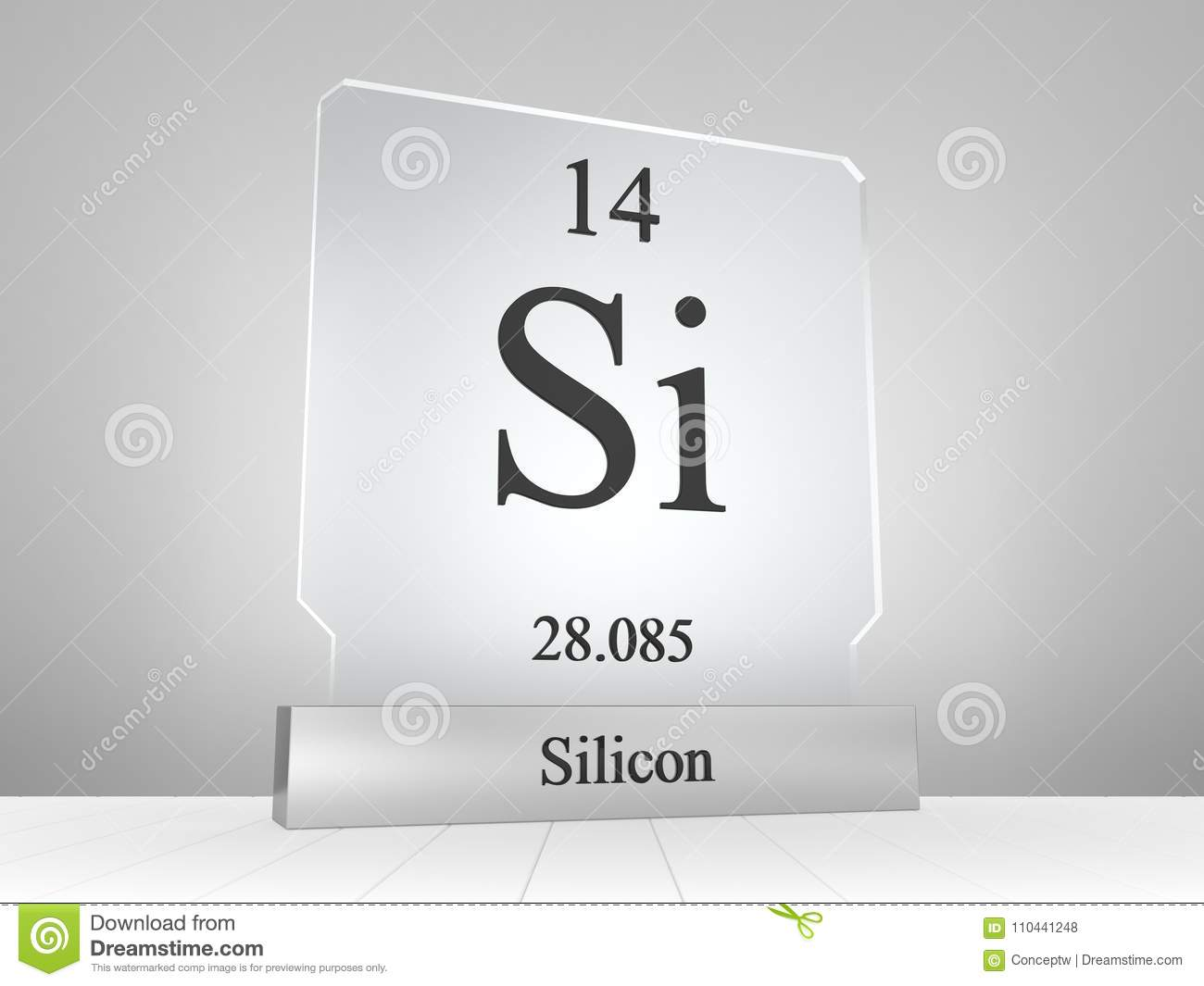 Silicon Symbol On Modern Glass And Metal Icon Stock Illustration