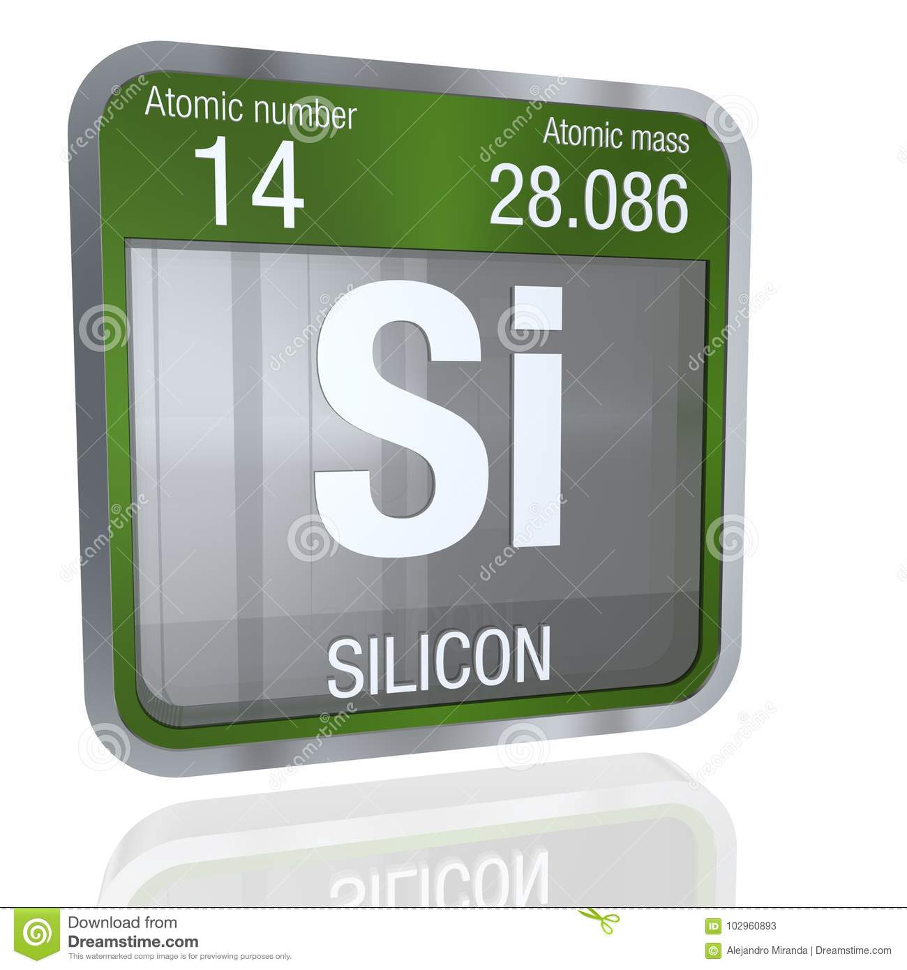 Silicon symbol in square shape with metallic border and silicon symbol in square shape with metallic border and transparent background with reflection on the floor 3d render buycottarizona