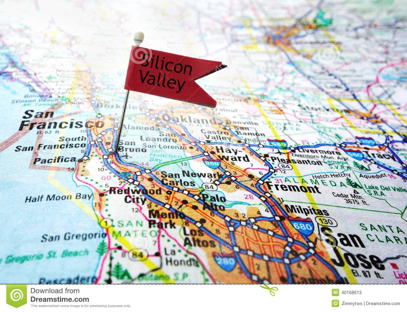 Silicon Valley Karte.Silicon Valley Flag Stock Image Image Of Locate Francisco 40168613