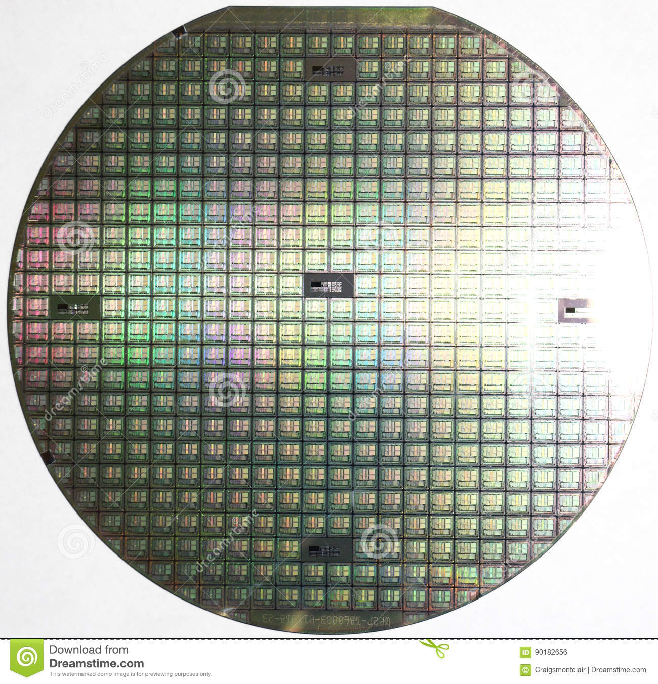 Silicon Wafer, Multiple Computer Chips Stock Photo - Image