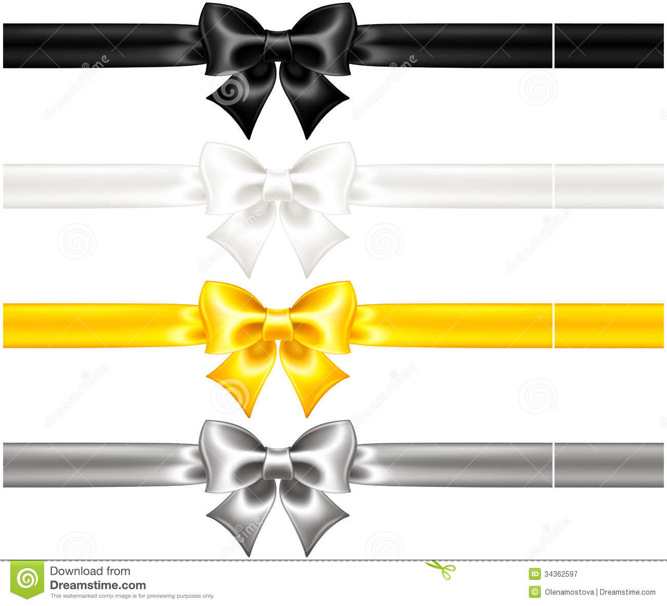 silk bows black and gold with ribbons stock vector illustration of