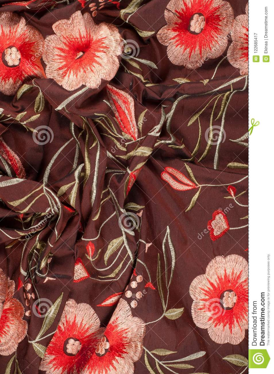 Faux Silk Brocade Fabric Turquoise Daisy Floral