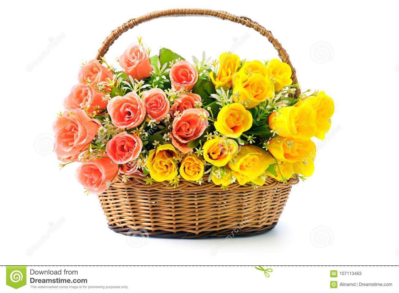 Silk Red And Yellow Roses In A Basket Isolated On White Backgrou