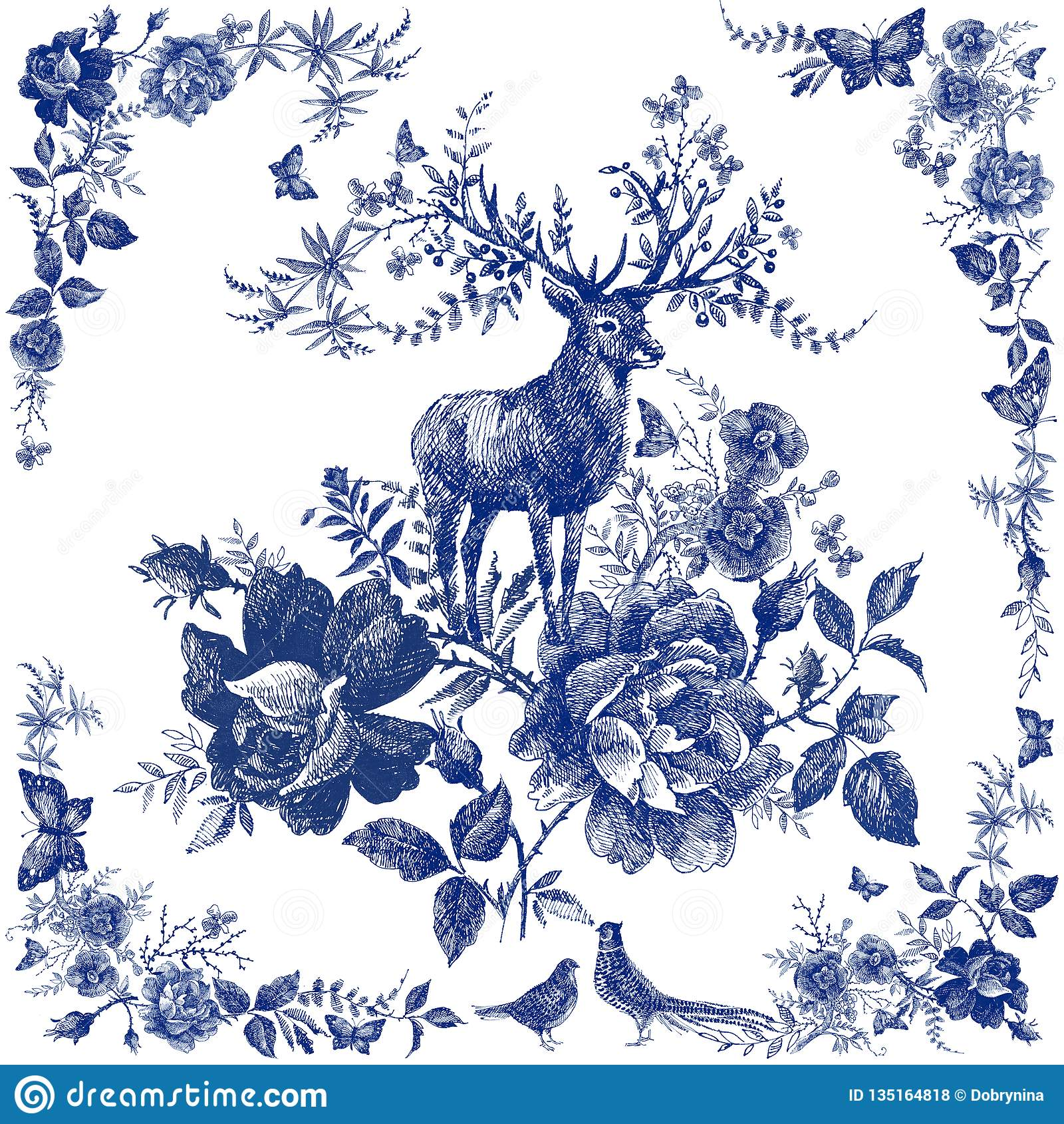Silk scarf with floral and wild animal. Deer illustration. Vintage design shawl with roses.