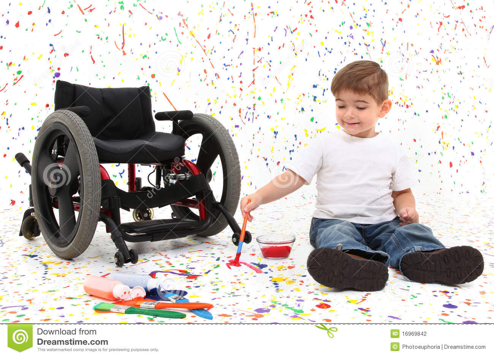 Sillón de ruedas de la pintura del niño del muchacho