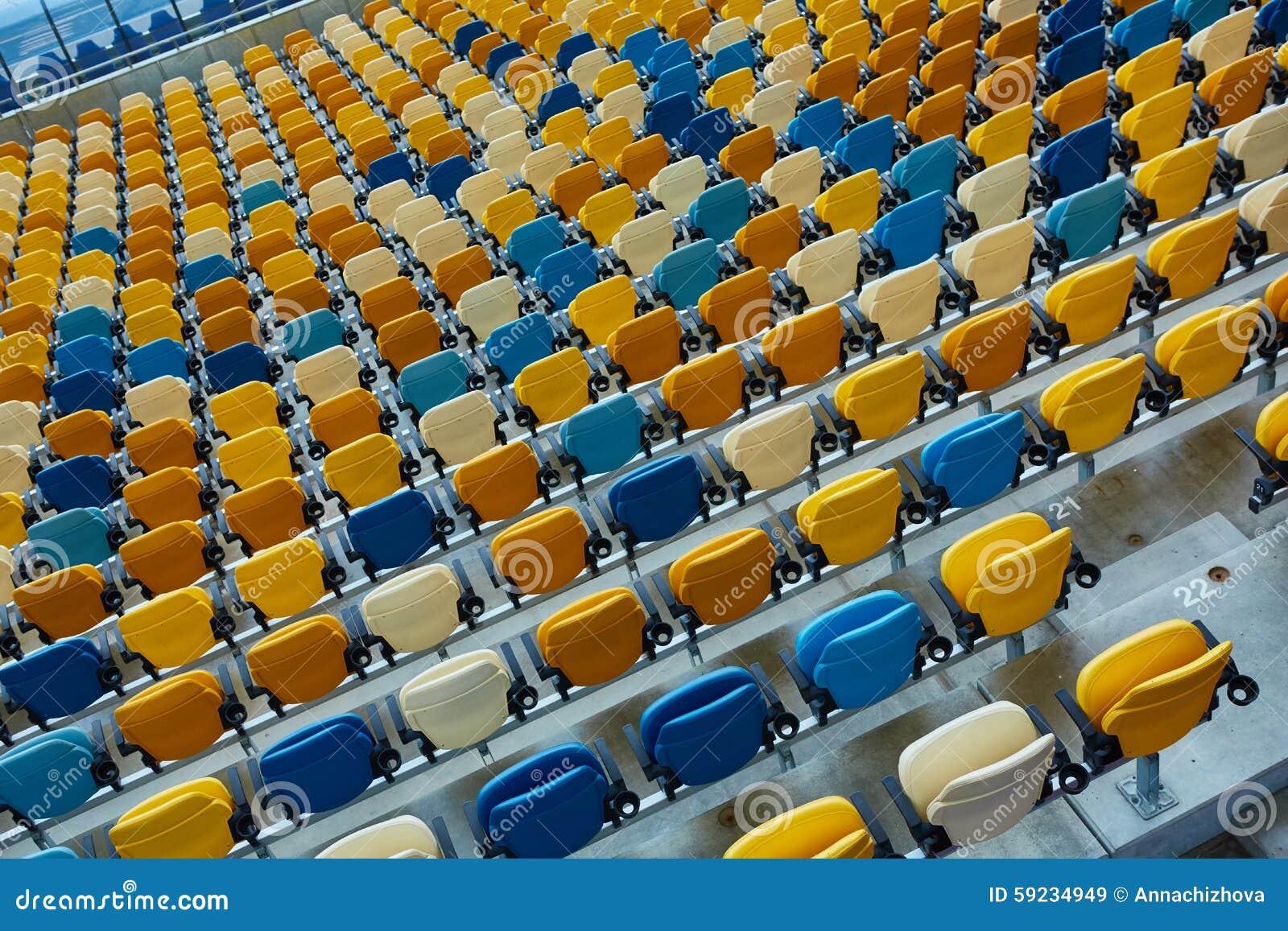 Download Silla Azul En Estadio Del Deporte Imagen de archivo - Imagen de outdoors, público: 59234949