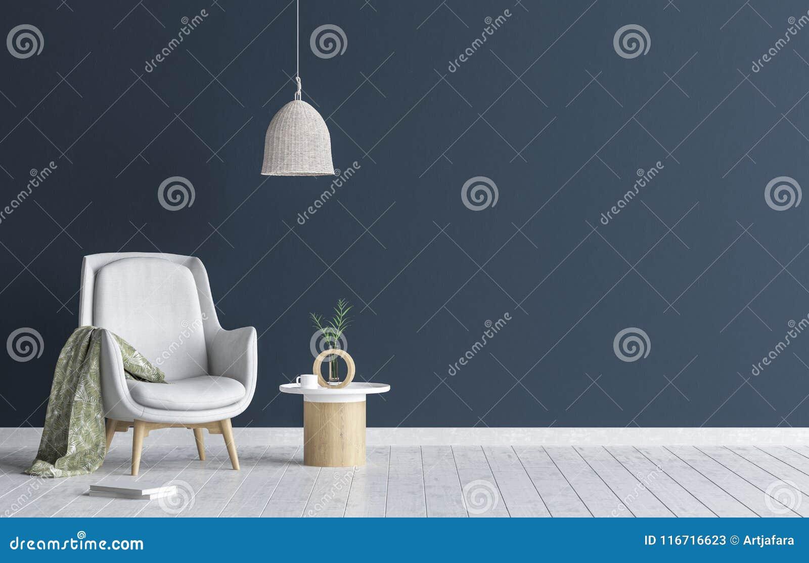 Silla con la lámpara y la mesa de centro en la sala de estar interior, mofa azul marino de la pared encima del fondo