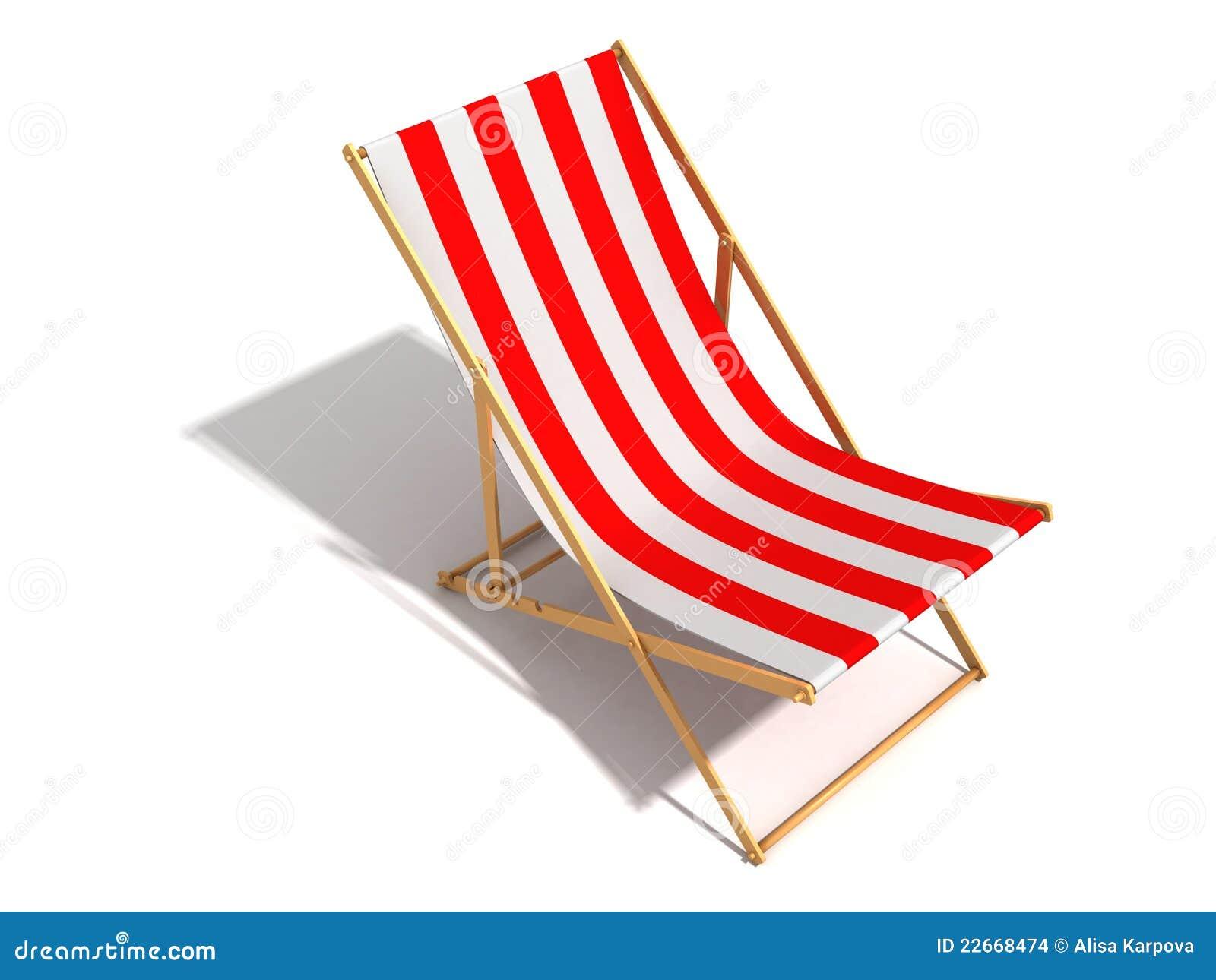Silla de playa blanca roja rayada en el fondo blanco for Sillas para jugar a la play
