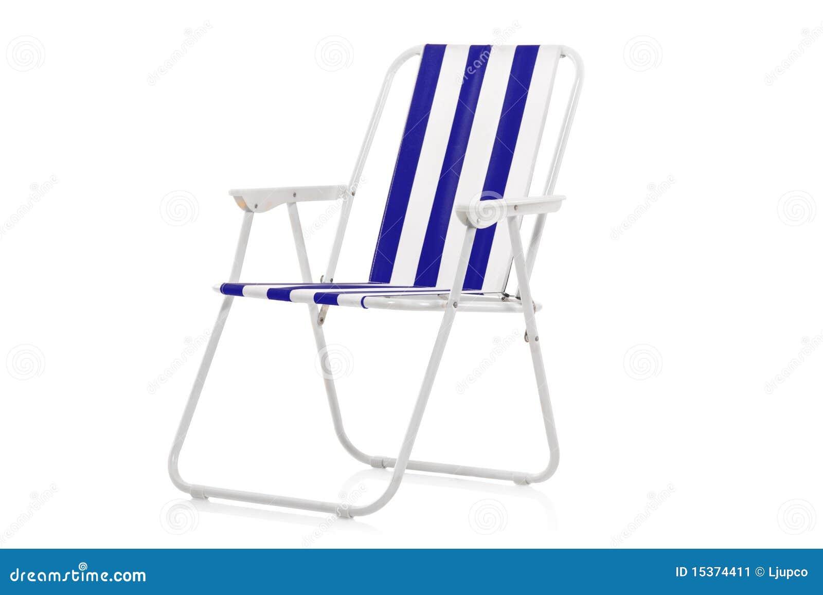 Silla de playa rayada azul y blanca imagen de archivo for Sillas para jugar a la play