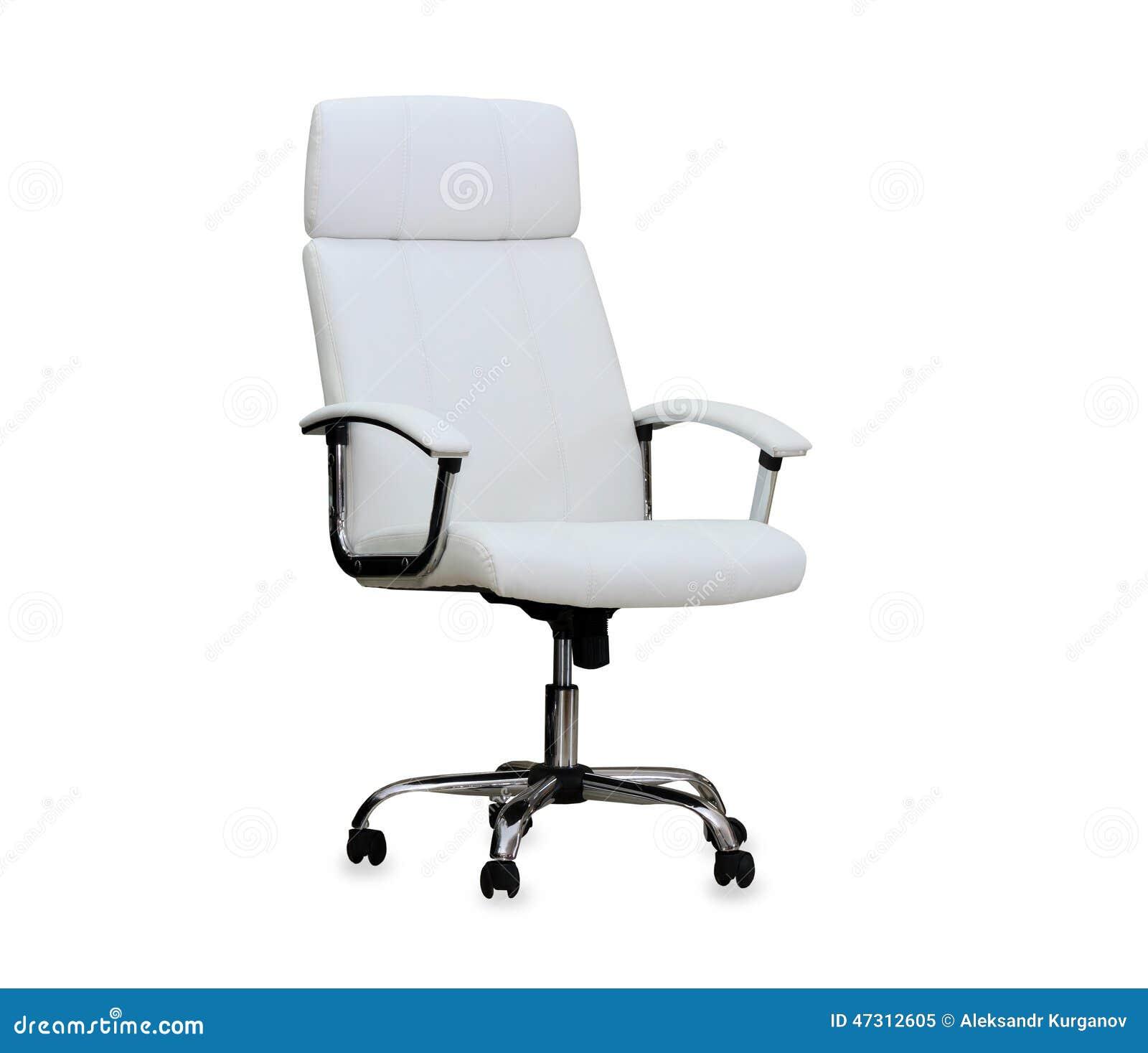 Silla moderna de la oficina del cuero blanco imagen de for Silla oficina moderna
