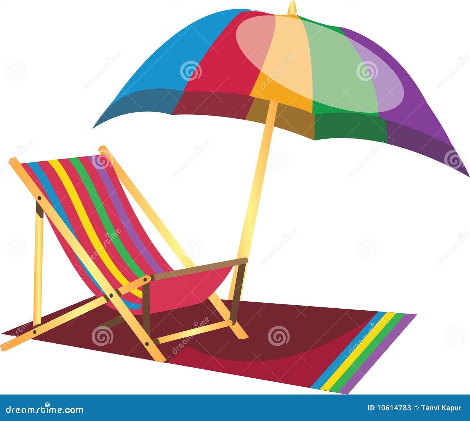 Silla perezosa de la playa con el paraguas ilustraci n del for Sillas para jugar a la play