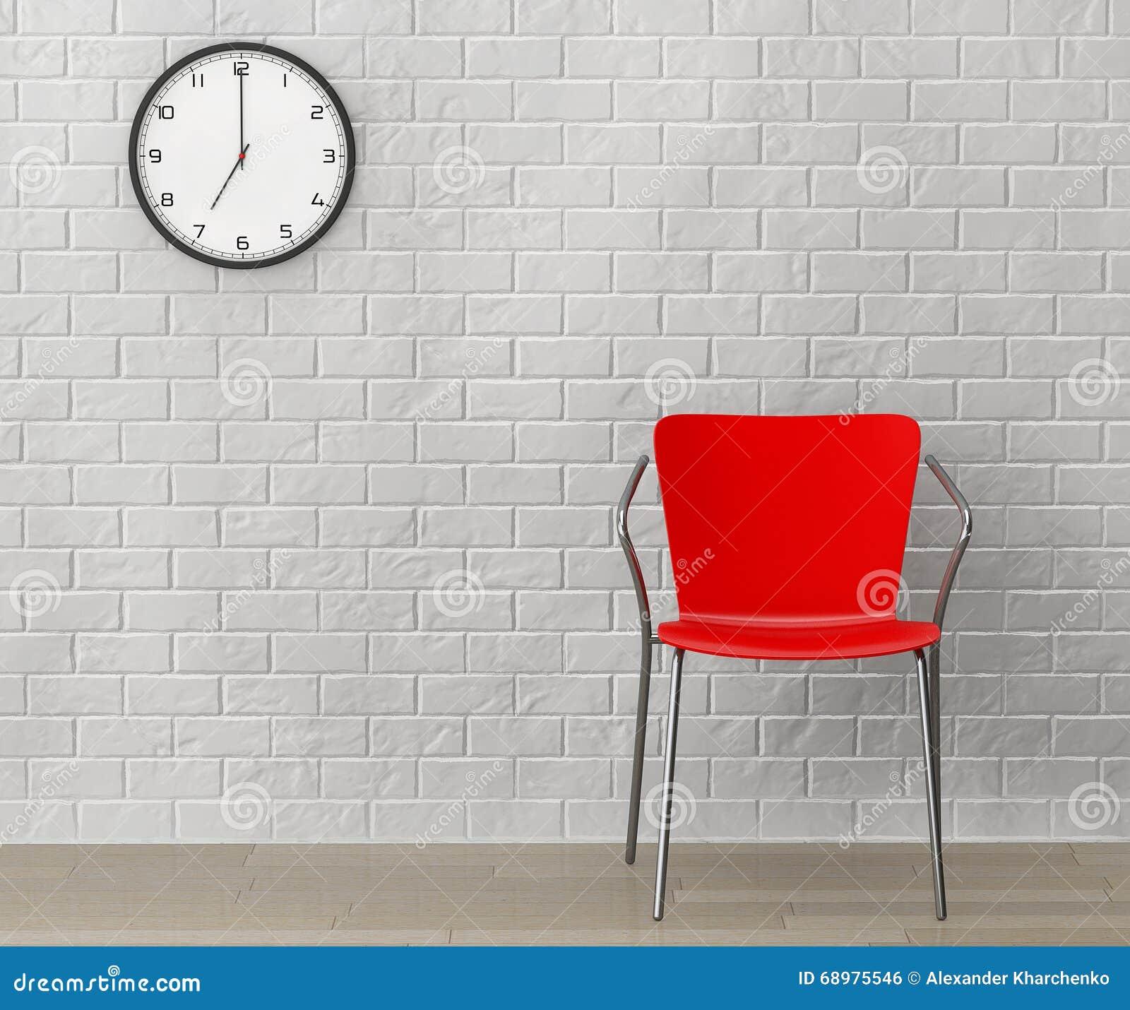 Silla roja con el reloj moderno