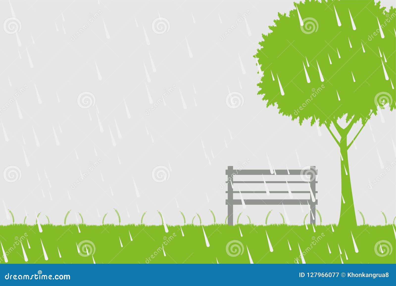 Silla y árbol en la lluvia en fondo verde