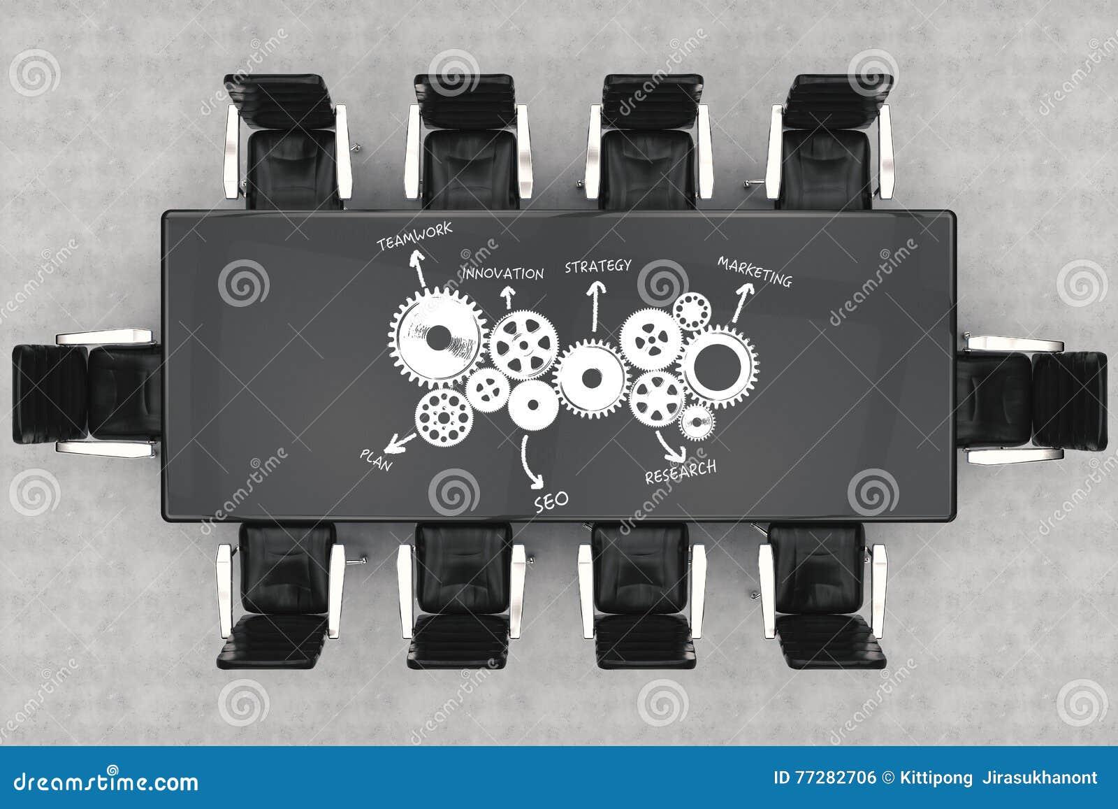 Sillas de la mesa de reuniones y de la oficina de la visión superior con el plan empresarial