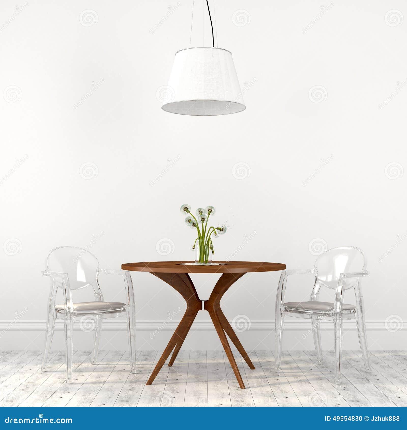 Sillas Transparentes De Moda En El Interior Del Comedor Foto de ...