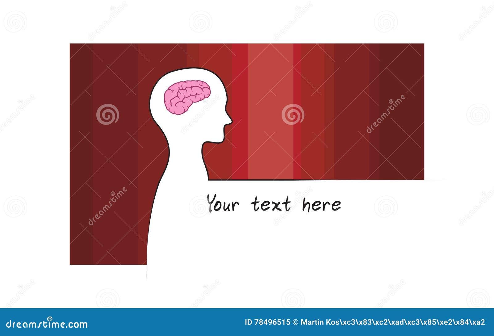 Sillhouette astratto della persona con il fondo di colore rosso Simbolo del cervello di intelligenza Versione bianca