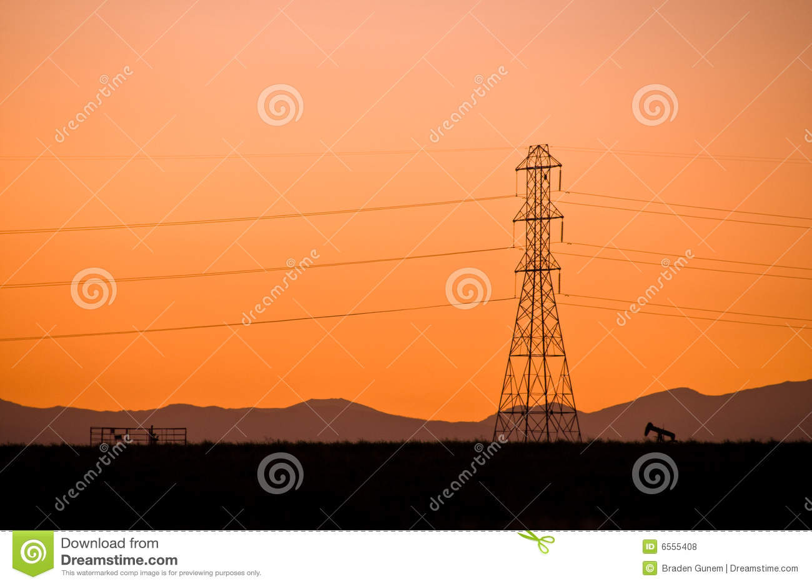Sillouette de la línea eléctrica