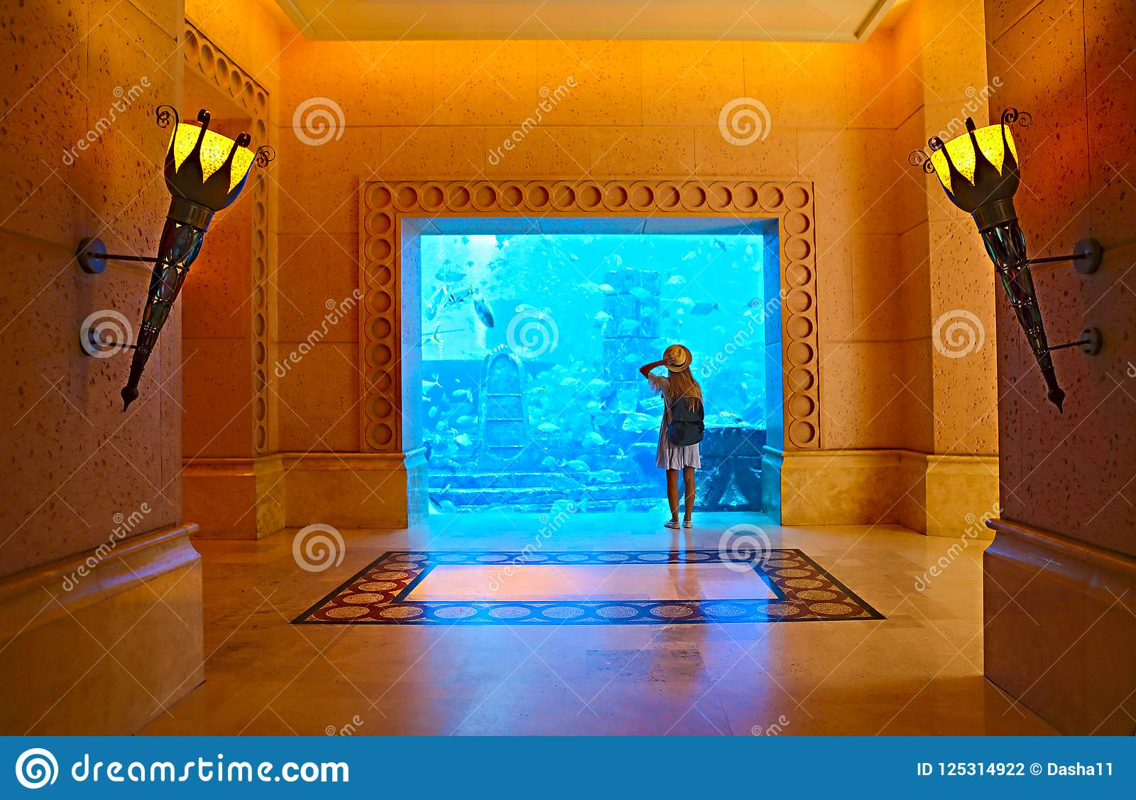 Sillouette de la mujer que toma la imagen en acuario grande