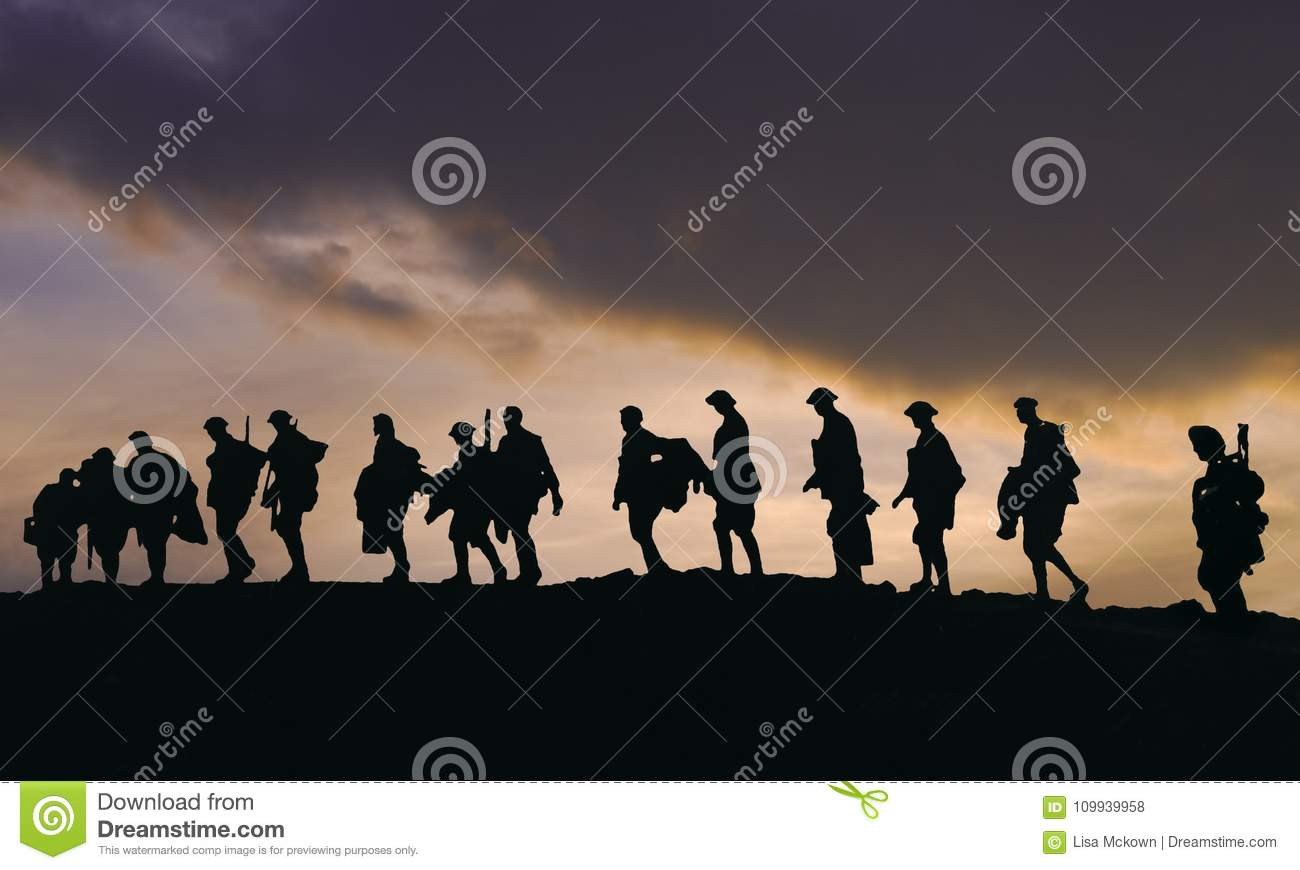 Sillouette of WW2 Army Soldiers at dusk