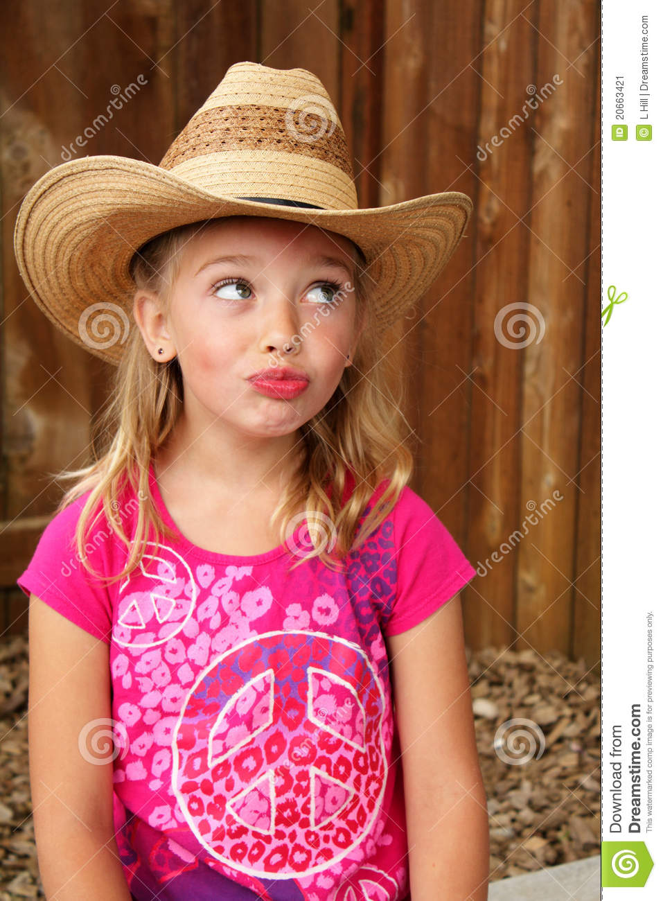 0730fa4c8 Silly Cowgirl In A Straw Hat. Stock Image - Image of cute, female ...