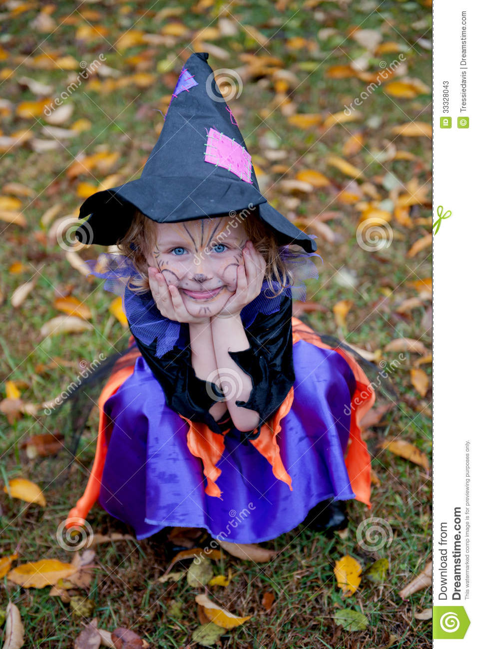 Silly Little Girl In Witch Costume Stock Image Image Of
