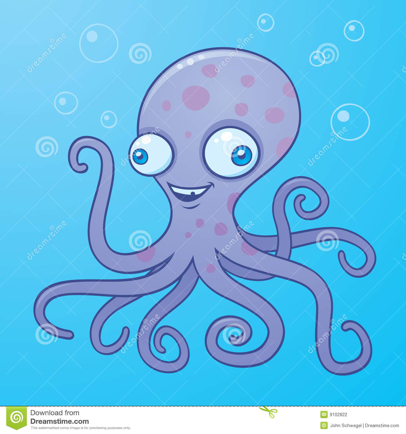 Vector cartoon illustration of a happy octopus in the water with ...