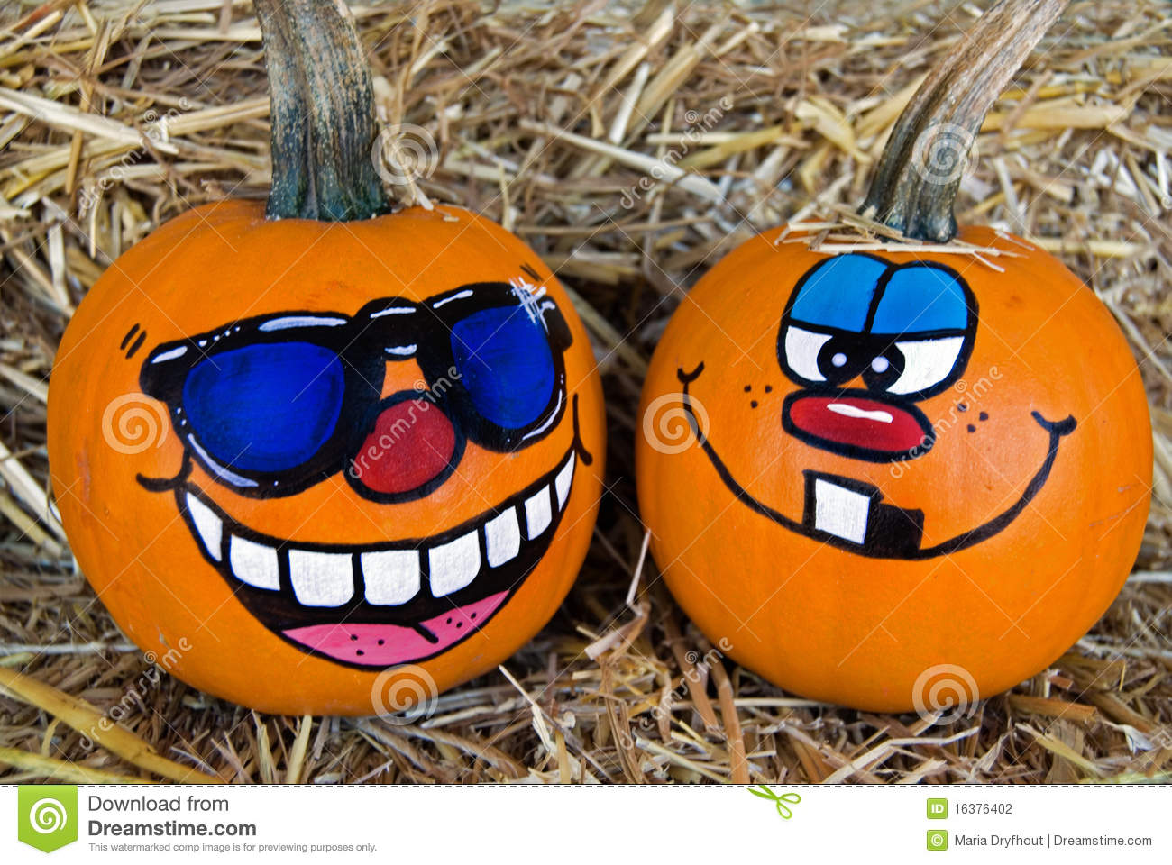 Funny faces painted on pumpkins stock photography image for Funny pumpkin drawings