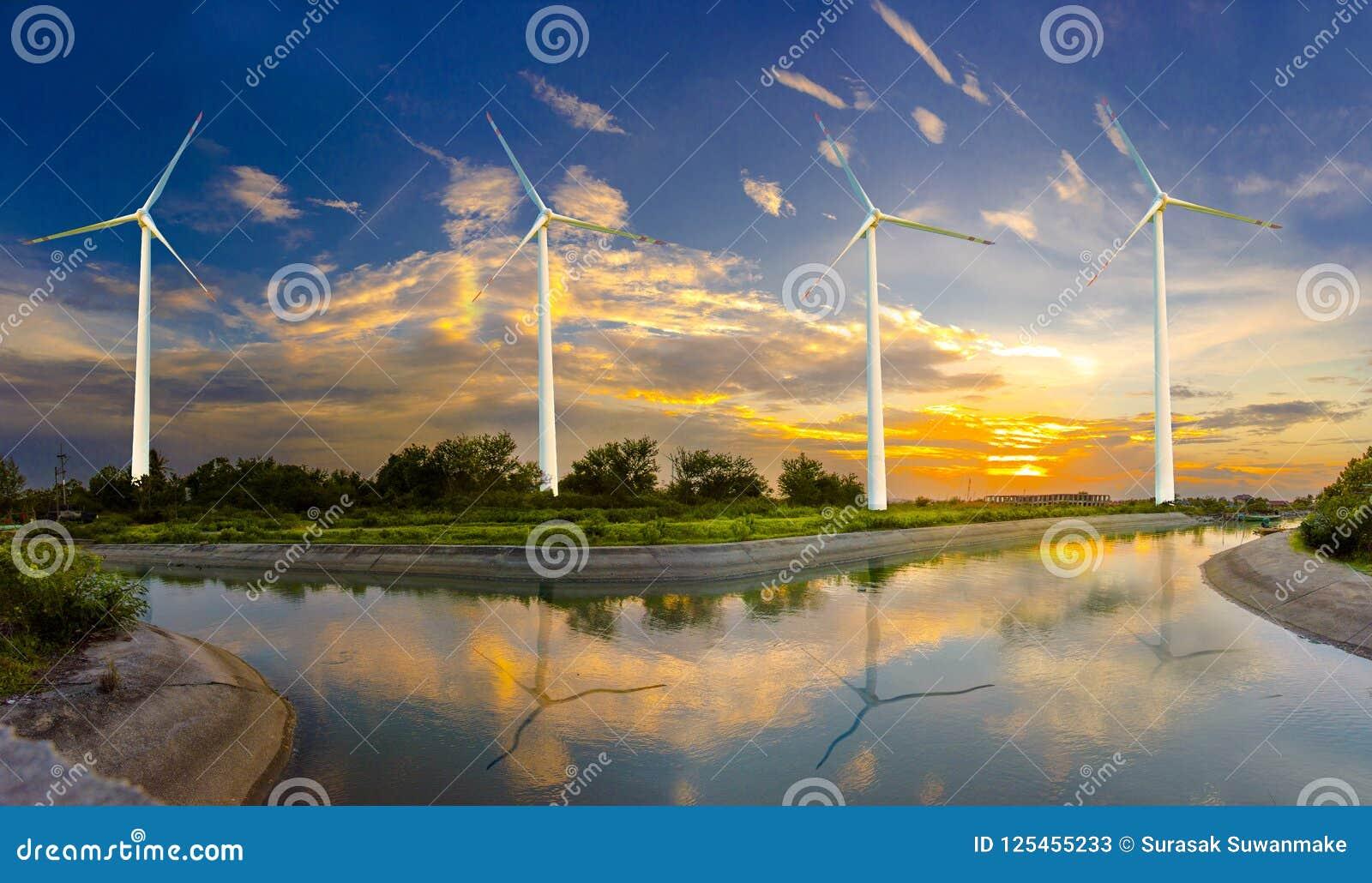 Silnik wiatrowy lub siła wiatru Tłumaczący w elektryczność, ochrona środowiska Robimy światowi gorący