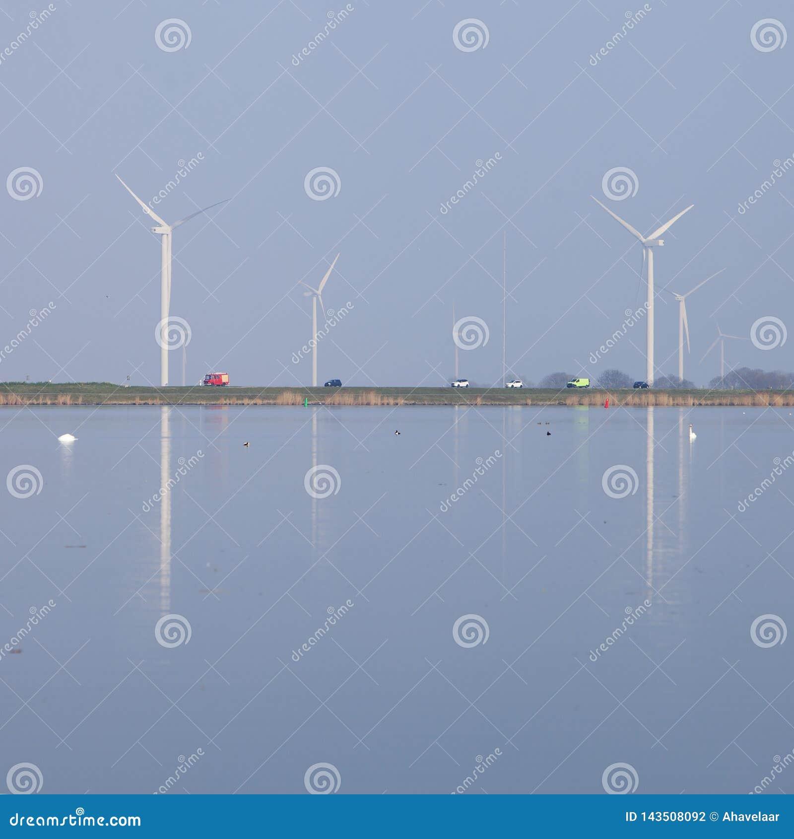 Silniki wiatrowi i niebieskie niebo odbijali w wodzie eemmeer blisko huizen w Holland