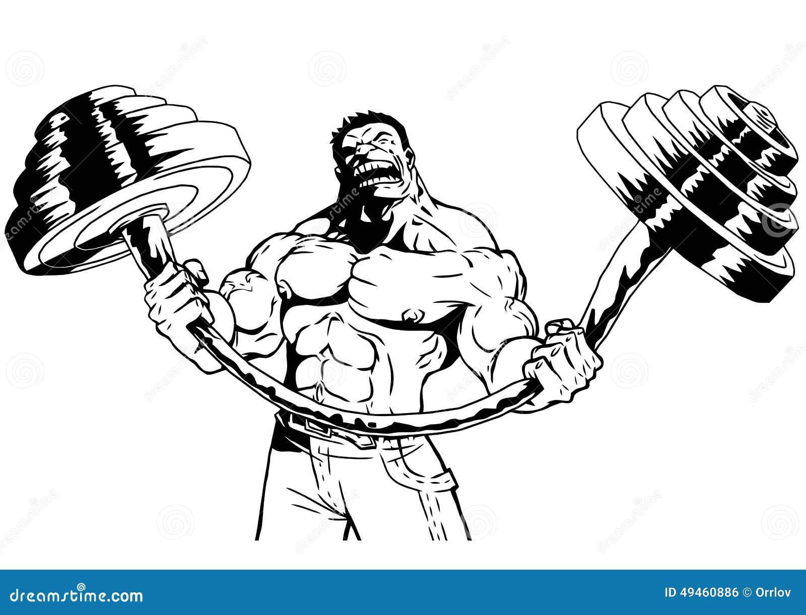 Silny bodybuilder napina ciężkiego barbell