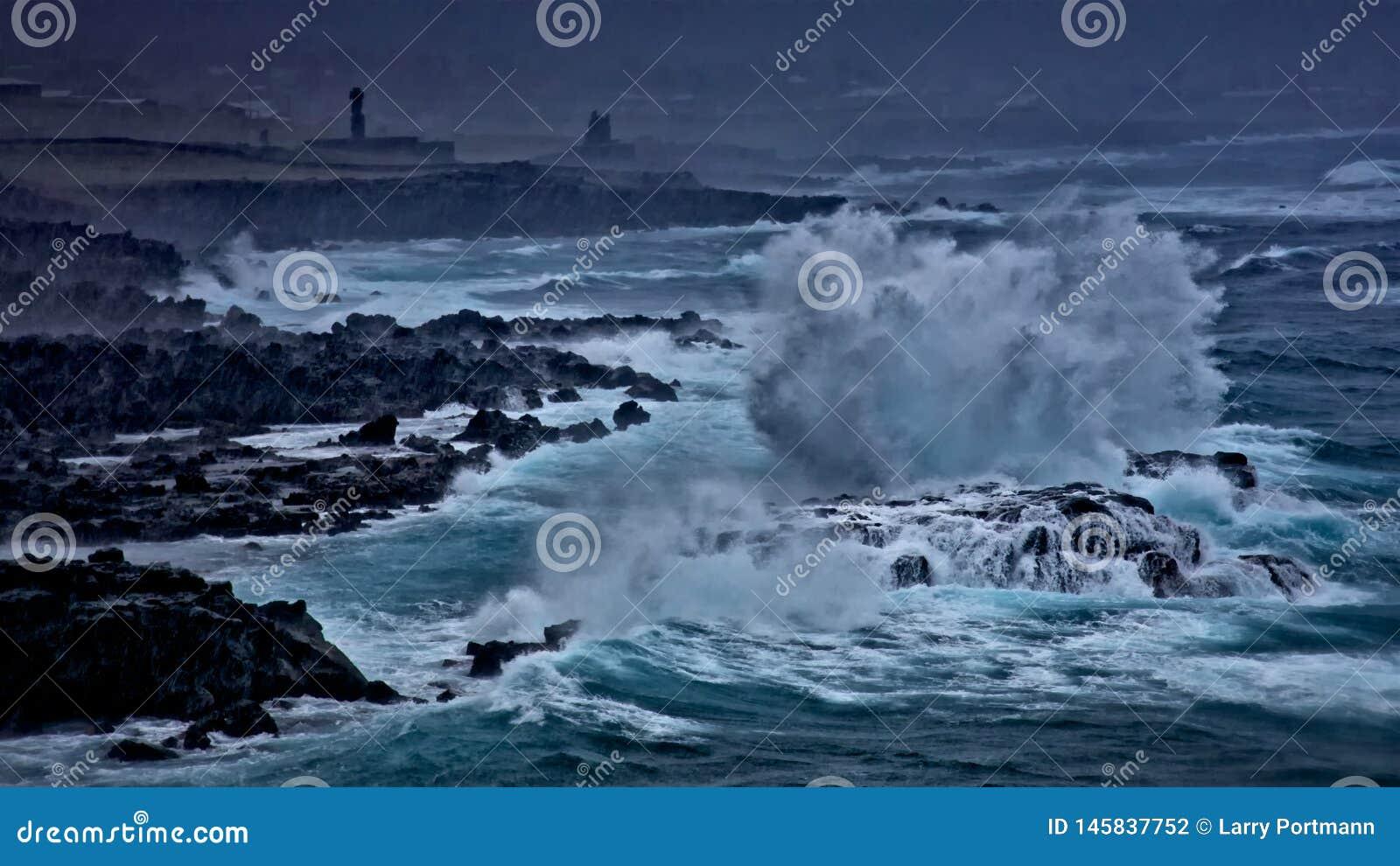 Silny burzy dosunięcie przez Wielkanocnej wyspy