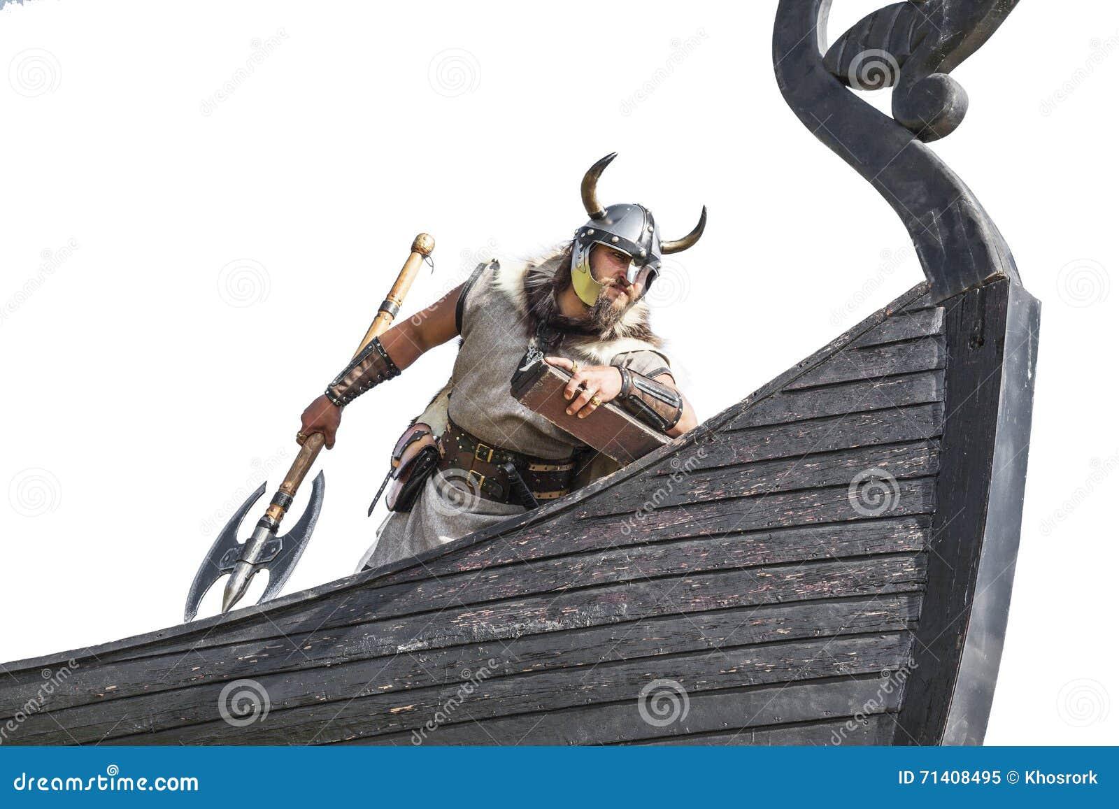 Silny Viking na jego statku