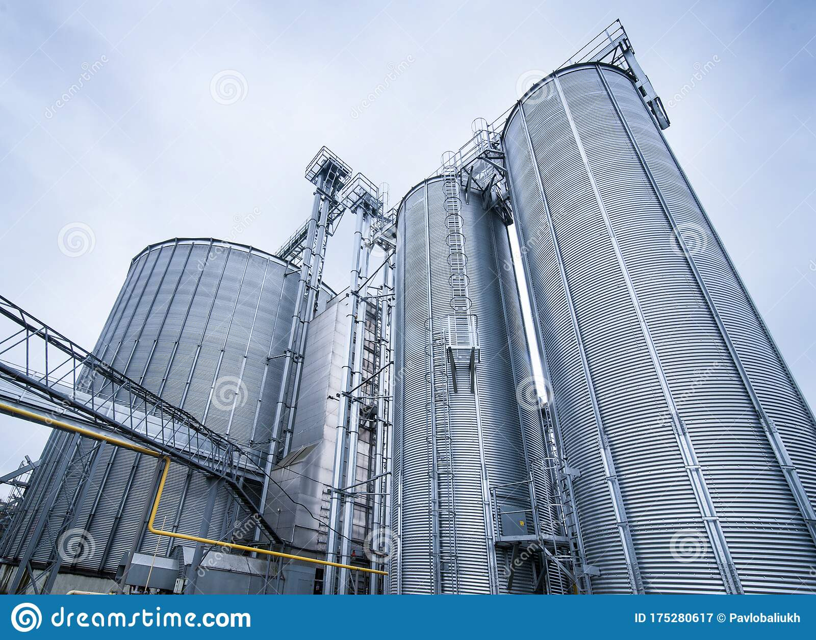 Silos For Storage Of Grain, Silo Roof Close-up. Warehouse Of Wheat Cereals. View From Bottom Stock Image