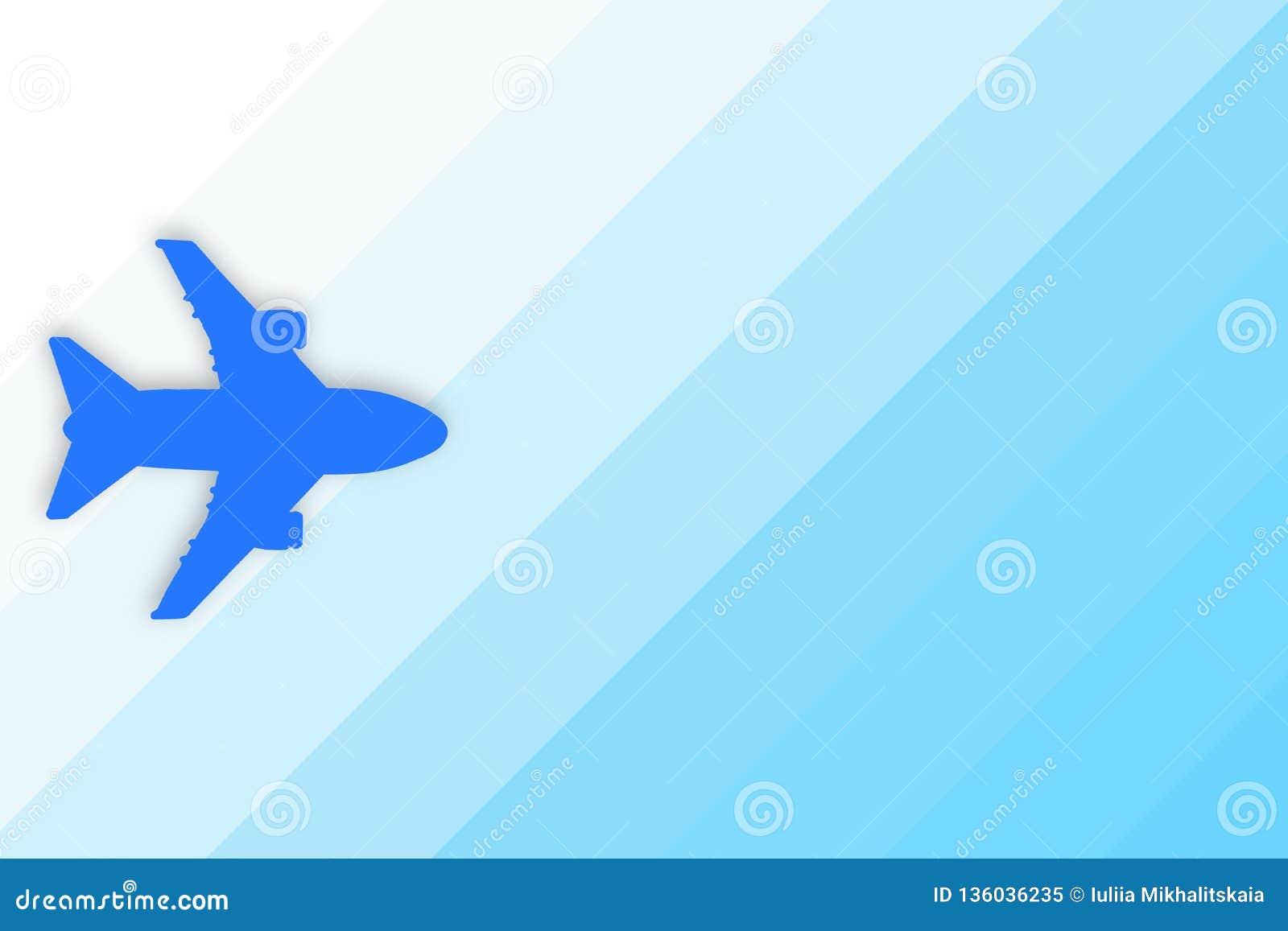 Silueta azul del avión en fondo azul de la pendiente con el espacio de la copia Concepto del viaje, del viaje y del vuelo