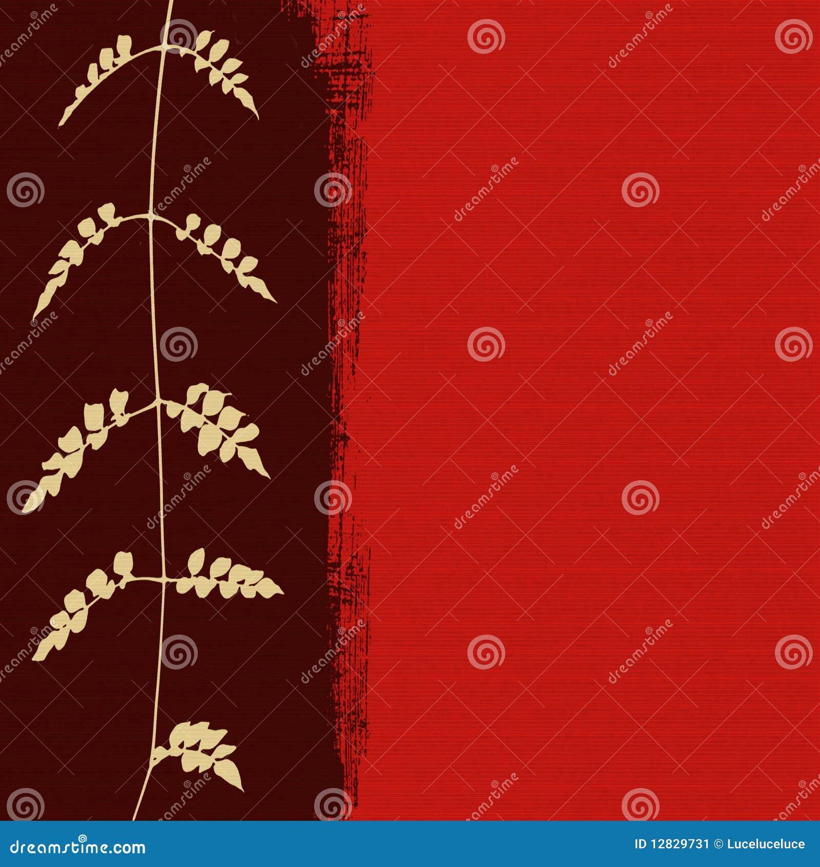 Silueta blanca del follaje en fondo rojo