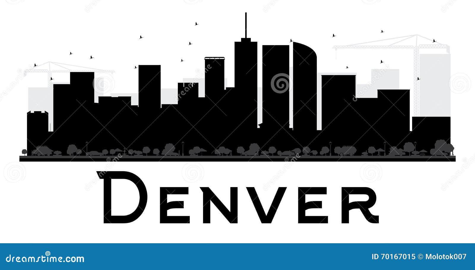 Silueta blanco y negro del horizonte de Denver City