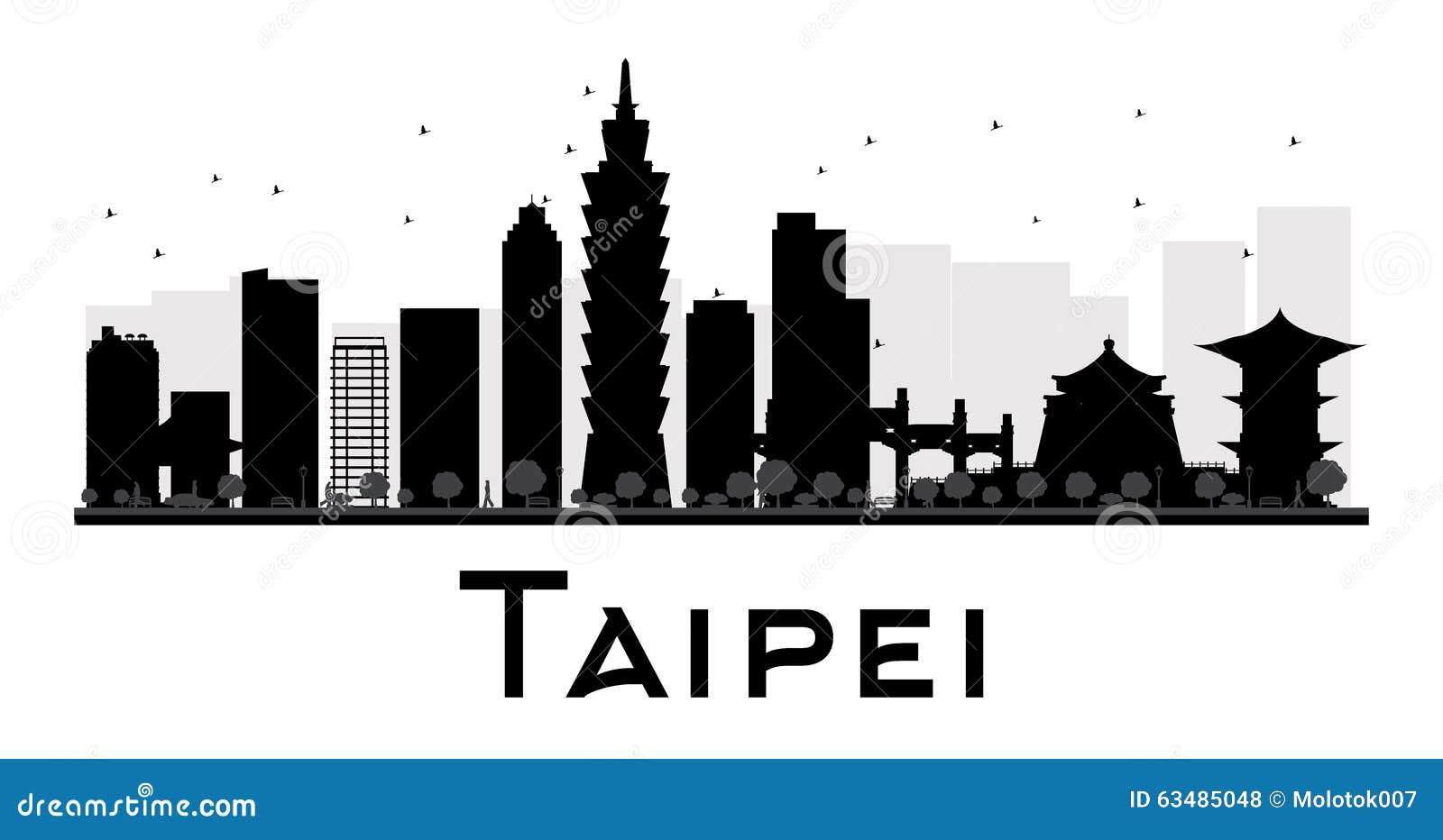 Silueta blanco y negro del horizonte de la ciudad de Taipei