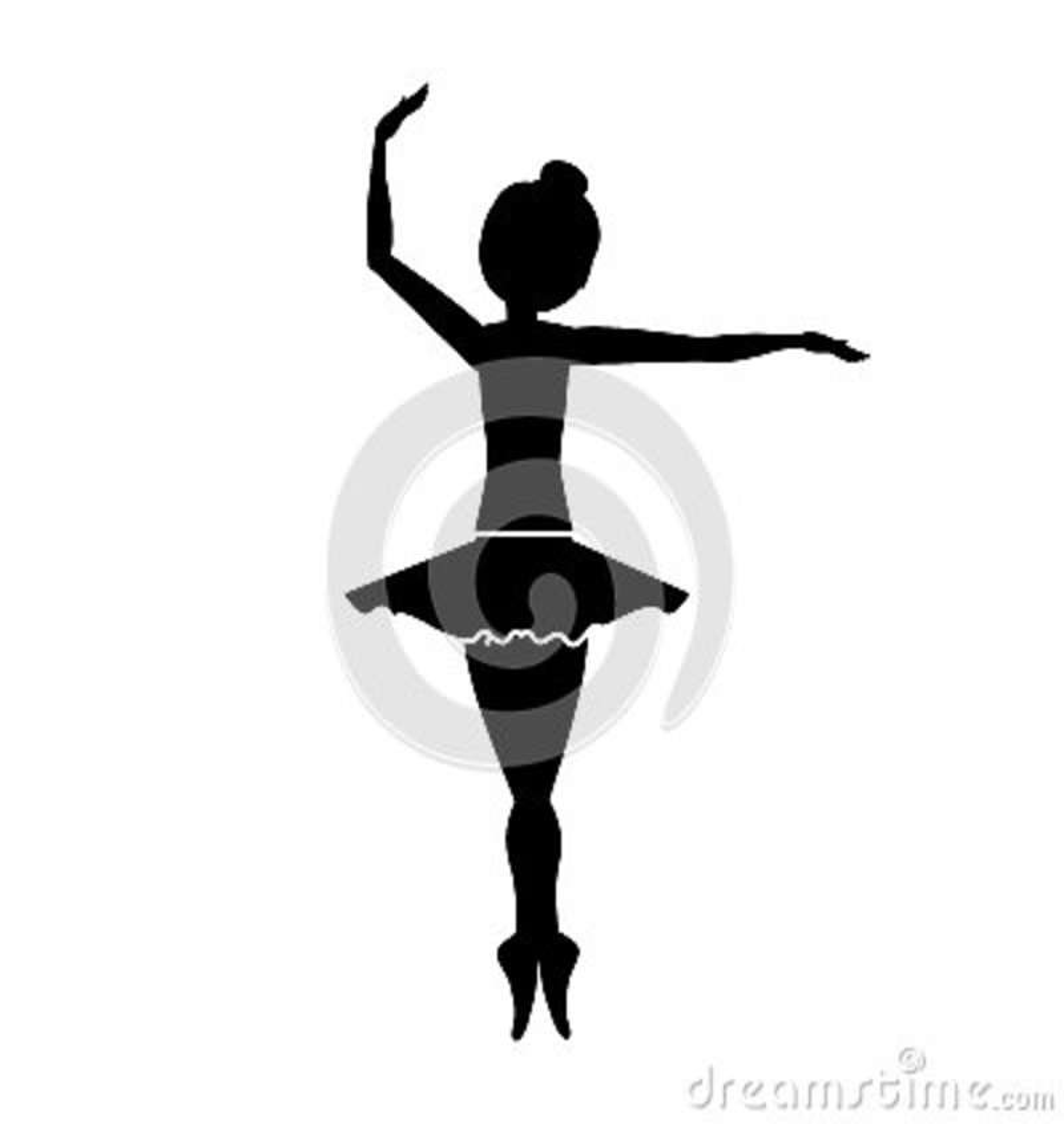 Silueta con posición de la pirueta del bailarín la cuarta