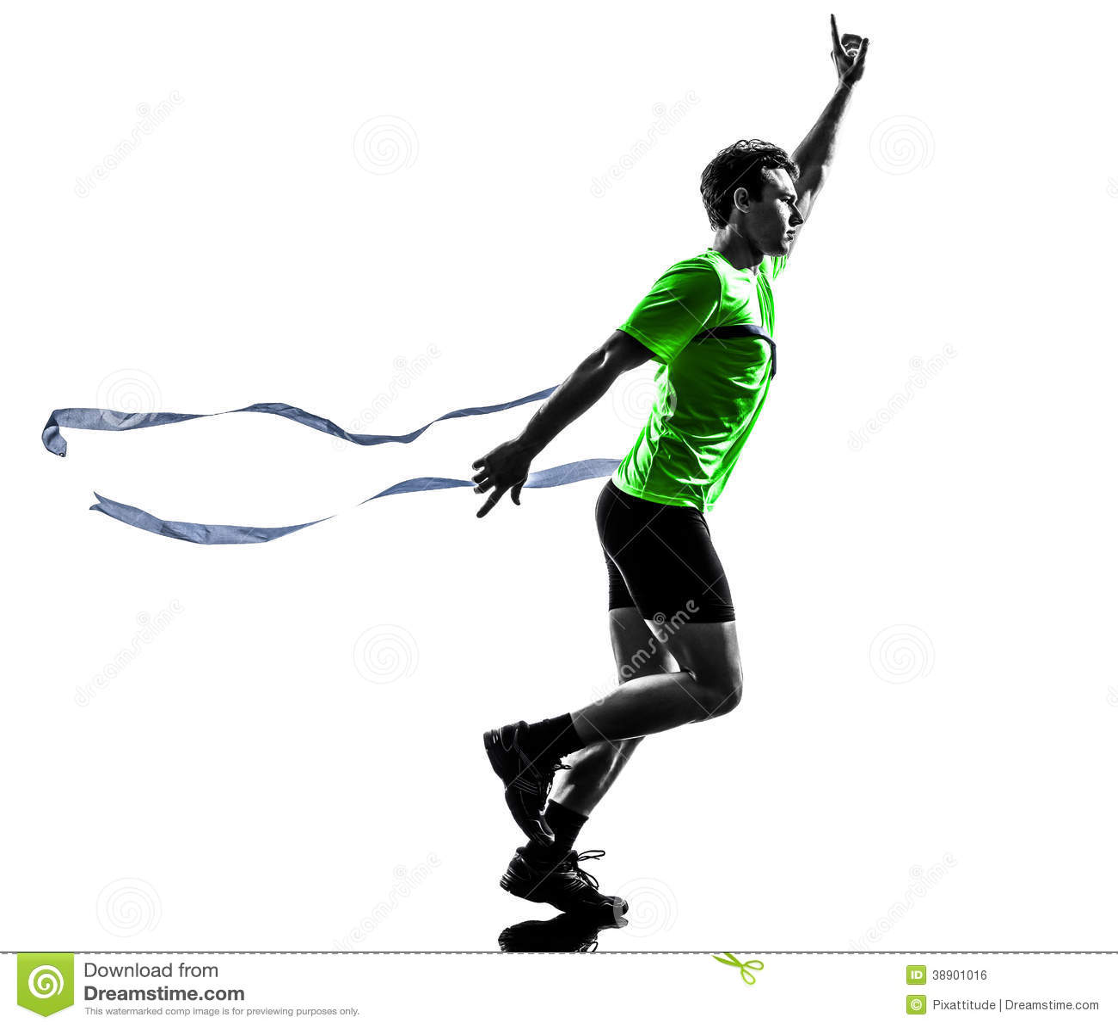 Silueta corriente de la meta del ganador del corredor del hombre