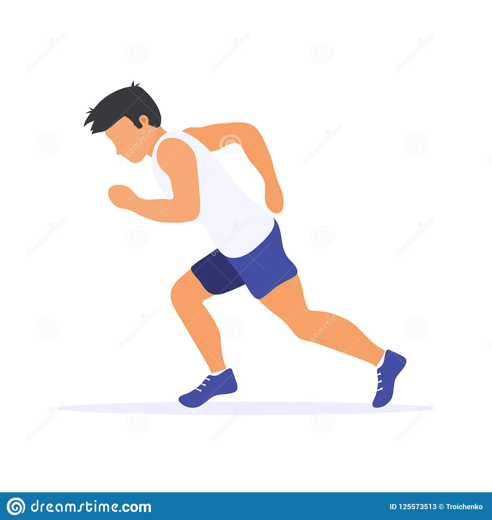 Silueta corriente del hombre corredor Ejemplo plano del vector Deporte individual
