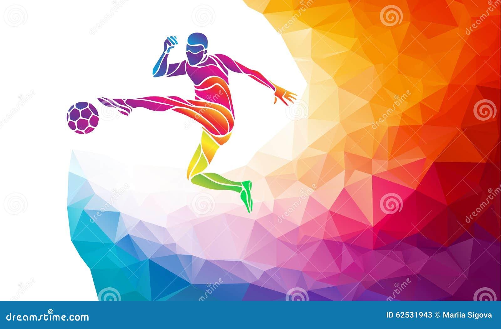 Silueta creativa del jugador de fútbol El futbolista golpea la bola con el pie en estilo colorido abstracto de moda del polígono